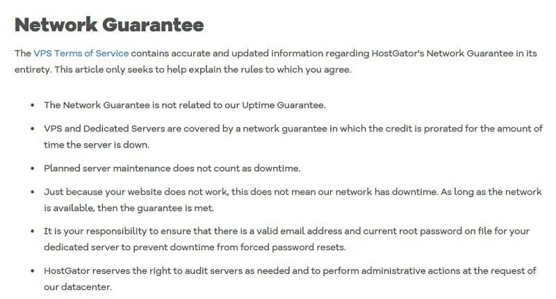Network Guarantee