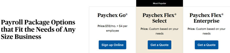 Paychex pricing plan
