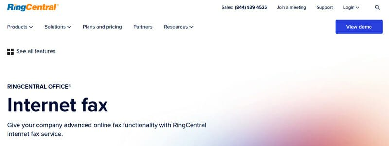 RingCentral Fax for businesses that need to fax many documents