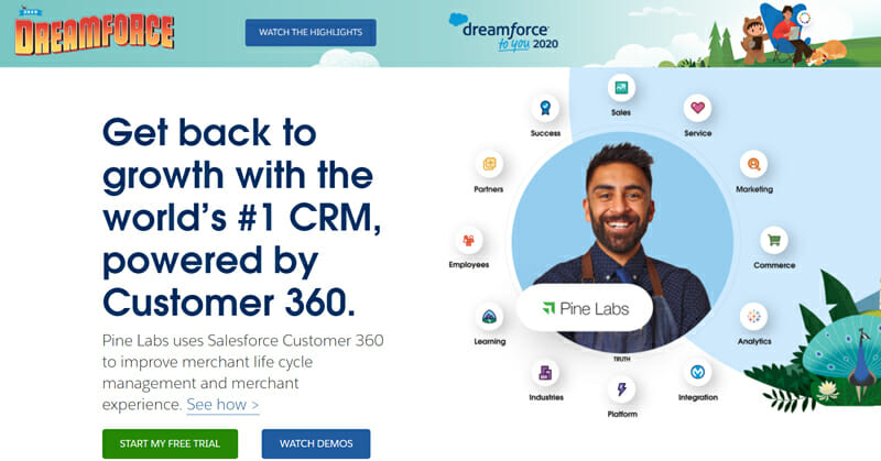 Salesforce uses cloud based systems for versatility