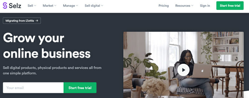 Selz Most Preferred eCommerce Platform for Small Businesses with Full Functionality.