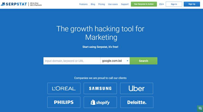 Serpstat market intelligence tool