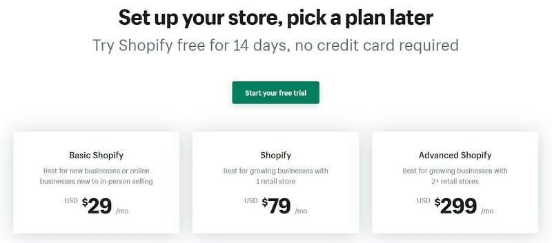Shopify - pricing
