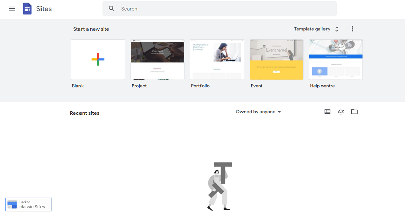 Sites.Google.com homepage