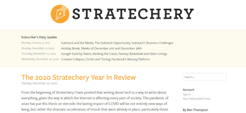 Successful Business Newsletter Stratechery