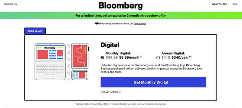 Subscription pricing from Bloomberg