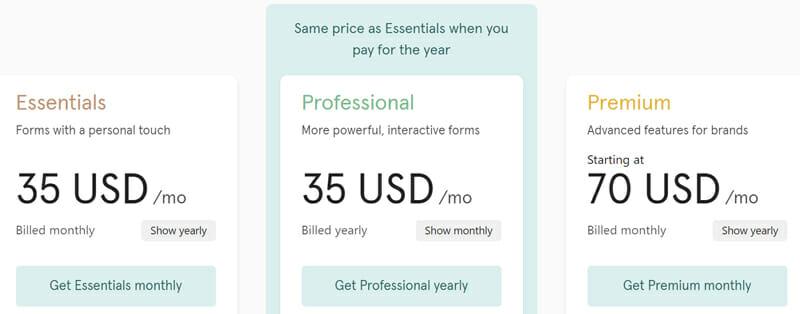Typeform Pricing Plan
