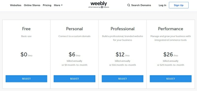 Weebly - pricing