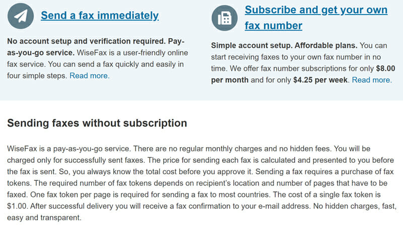 WiseFax Pricing Plan