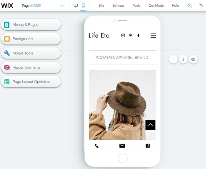 Wix - Mobile preview