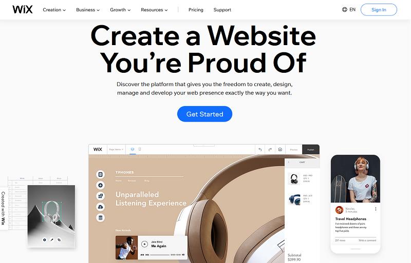 Wix.com homepage