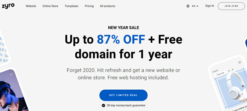 Zyro Most Ideal eCommerce Platform for Personal Brands and Small Businesses Designed with AI Tools to Easily Build Websites and Attract Sales.
