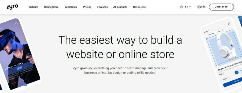 Zyro - homepage