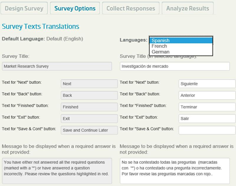 eSurveysPro Survey Texts translation