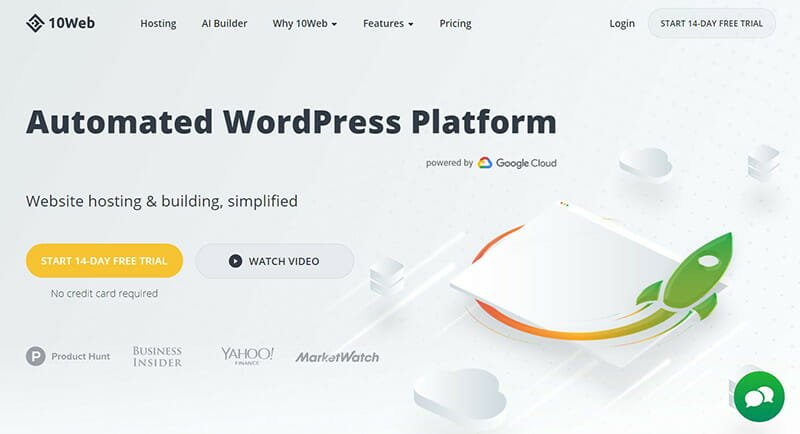 10web is the best for website designers and bloggers who want a WordPress site in minutes.