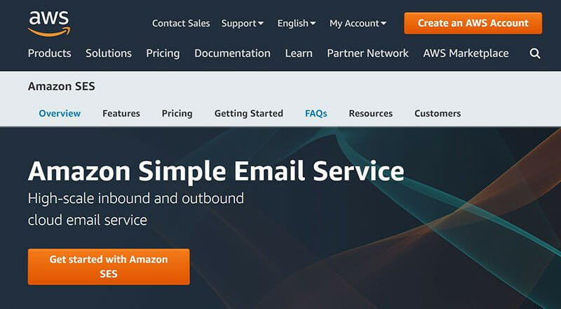 Amazon SES is the best straightforward email service with useful features for developers.