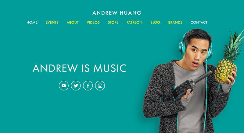 Andrew Huang is a website for music and video producer that creates all types of music styles.