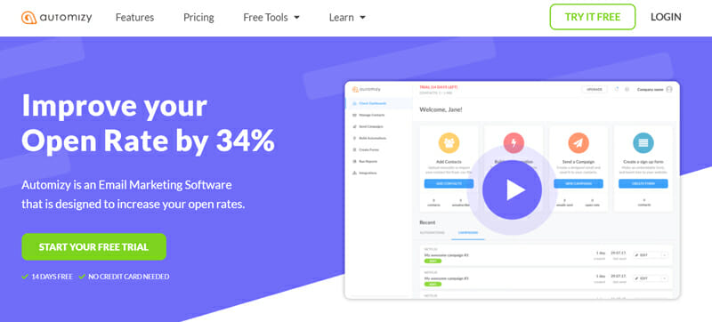 Automizy is an Email Marketing Platform with AI Automation Tools For Businesses Looking to Improve their Open Rates.