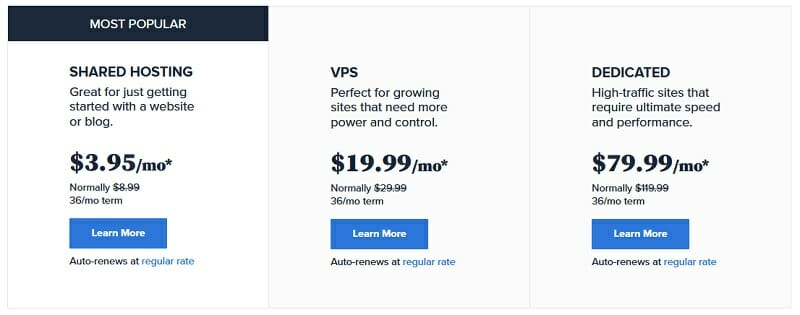 Bluehost - pricing - Shared hosting - VPS - Dedicated