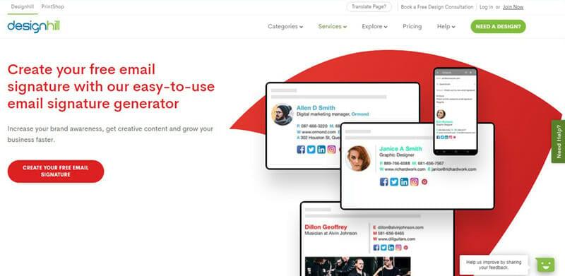 Designhill email signature generator for beautifully designed business email signatures