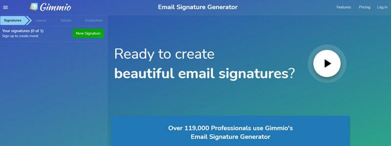 Gimmio email signature generator for marketing agencies and web designers