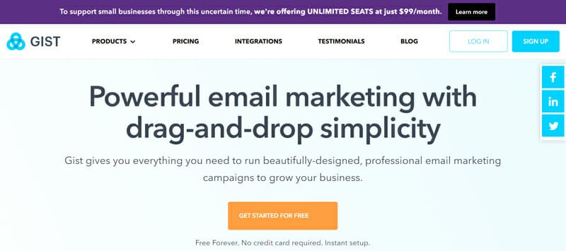 Gist The Most Simplistic All In One Marketing Software