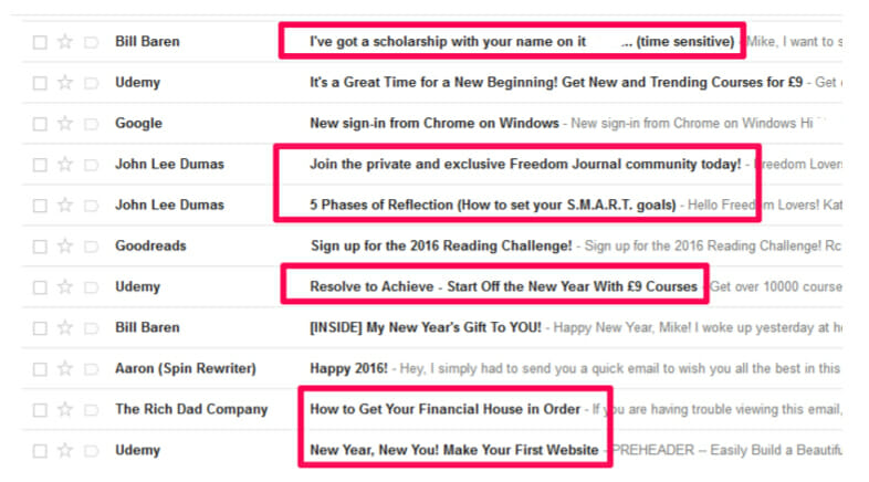 Grab attention email with the subject lines