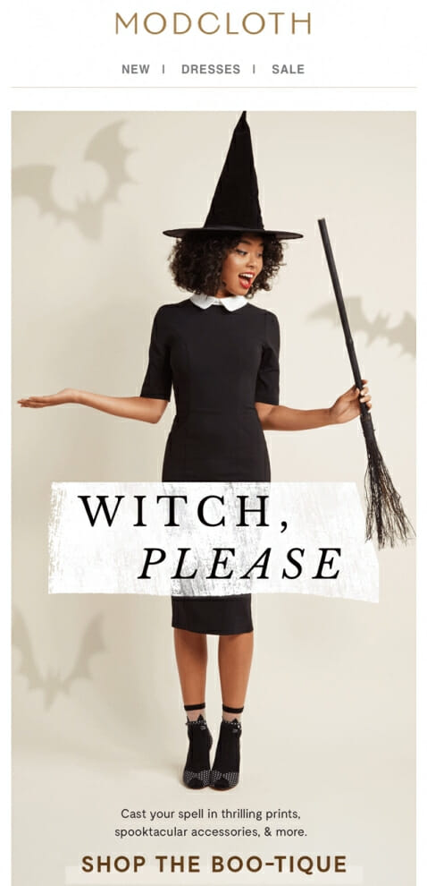 Halloween themed email campaign encouraged its customers to purchase from their shop