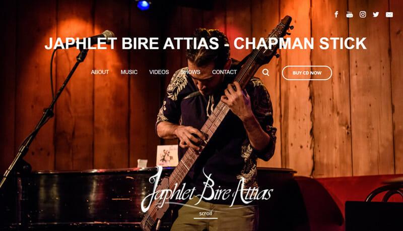 Japhlet Bire Attias is a website of a Chapman stick artist who tours the world to promote his music.