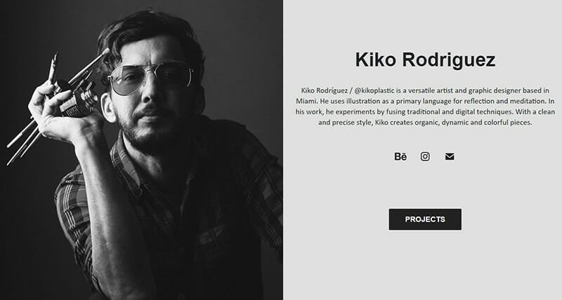 Kiko Rodriguez is a artist and graphic designer website who experiments with illustrations.