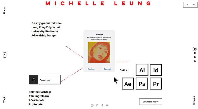 Michelle Leung is an advertising designer website for brands .
