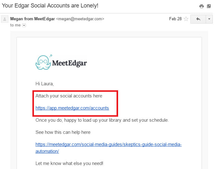Onboarding Email to help the new subscriber navigate in the beginning