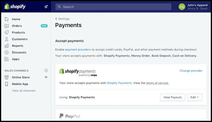 Shopify's simple payment gateway for Online Store