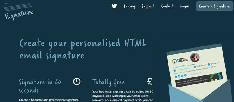 Si.gnatu.re is the Best email signature generator for freelancers