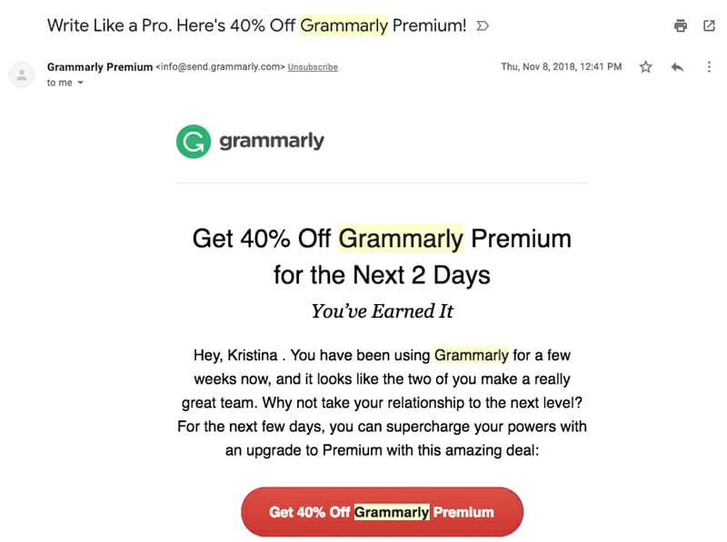 Grammarly upsells with automate emails