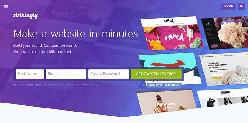 Strikingly is the best single page website builder for marketers.
