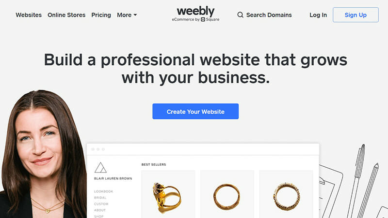 Weebly is the best free website builder for businesses and startups