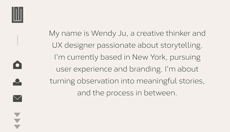 Wendy Ju is a Great personal website of a UX Designer