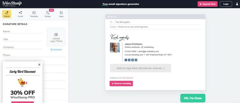 WiseStamp email signature generator for Outlook