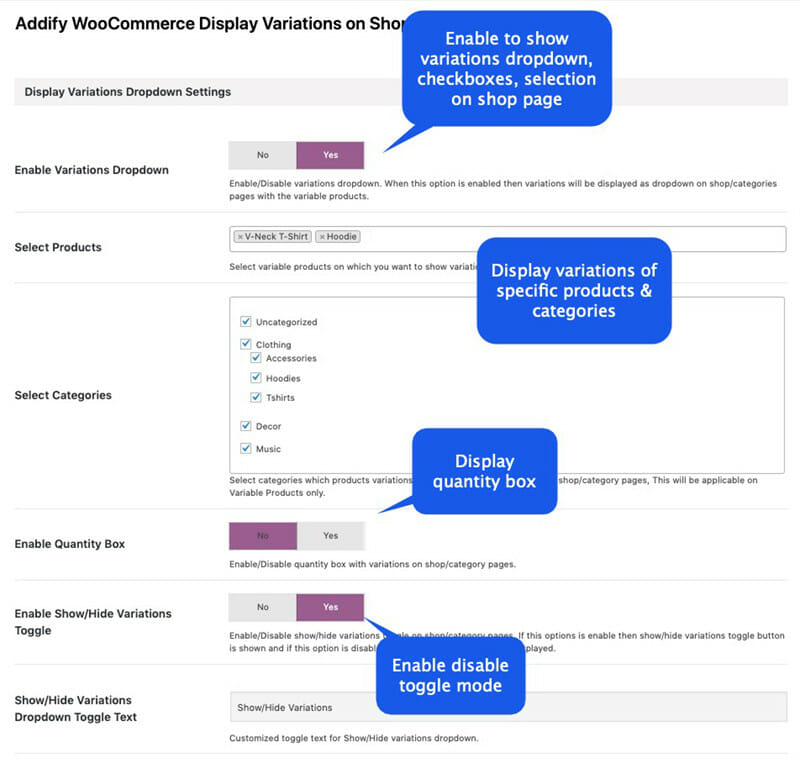 WooCommerce Show variations on shop page plugin