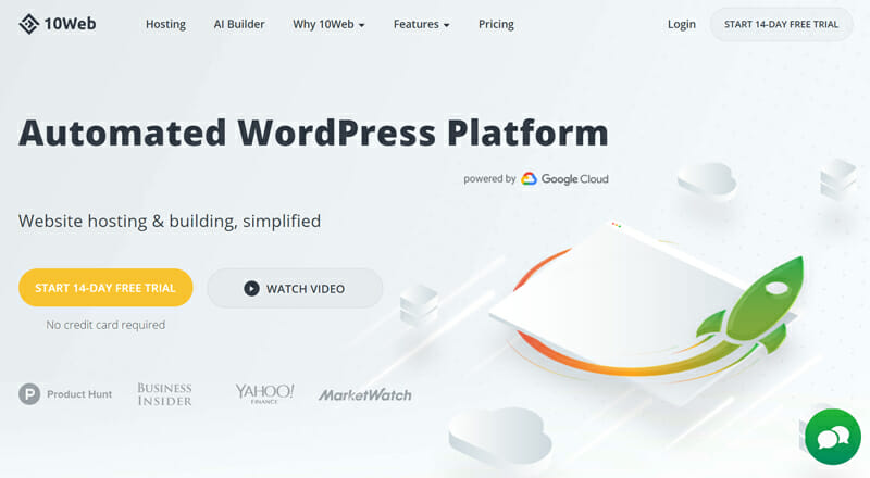 10Web is the best Automated WordPress Website Builder Driven By AI