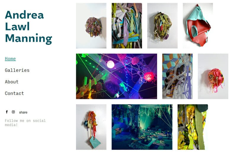 Andrea Lawl Manning is an elegant artist website example