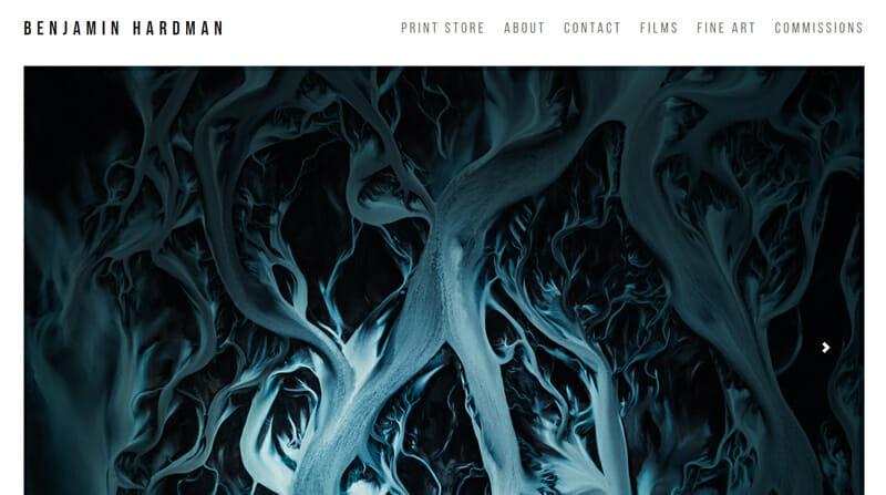 Benjamin Hardman is a stunning artist website example