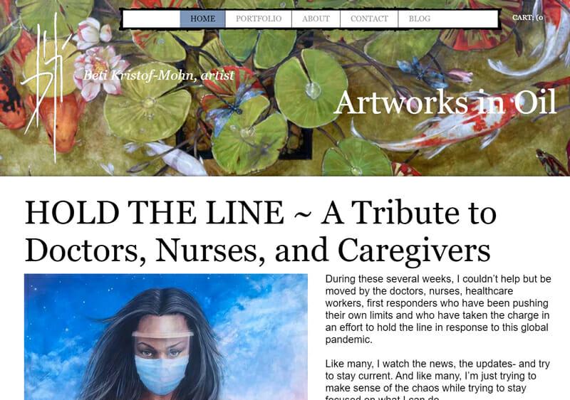 Beti Kristof is an engaging artist website example