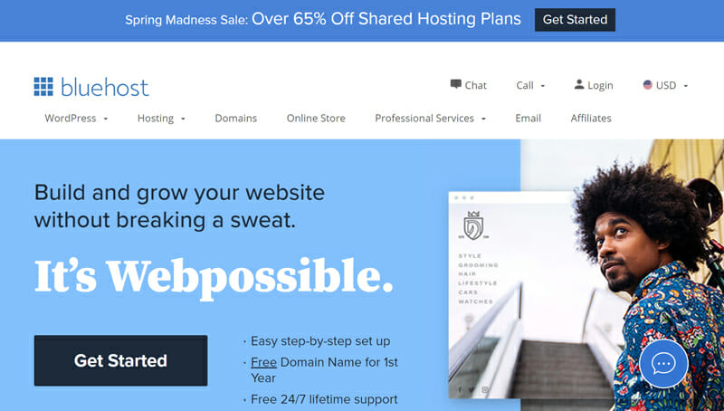 Bluehost is the best combination for Budget and Beginner Friendly Website Creation