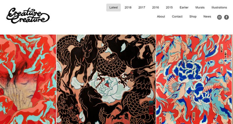 Creature Creature is an engaging artist website example