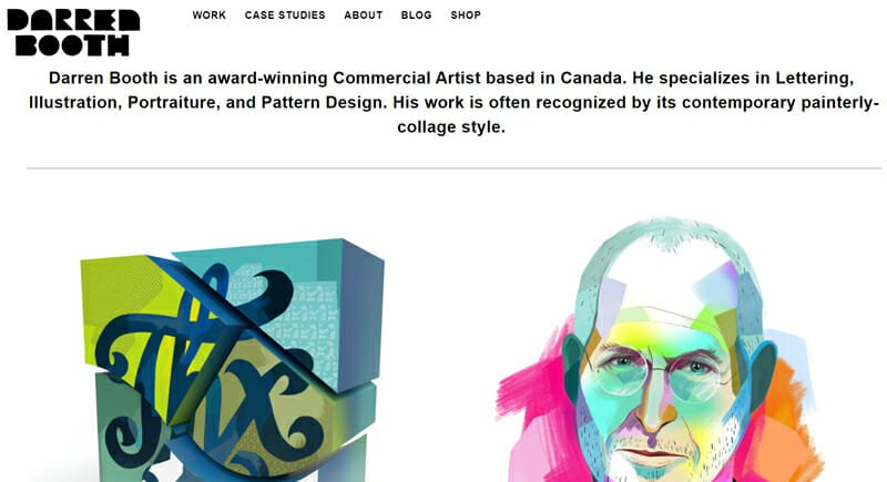 Darren Booth is a fantastic example of an artist website