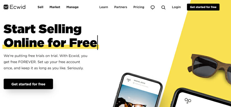 Ecwid is the best eCommerce website builder for small businesses looking for a free plan
