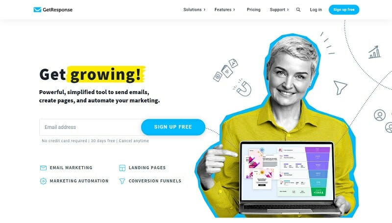 GetResponse - Get growing - Powerful, simplified tool to send emails, create pages, and automate your marketing