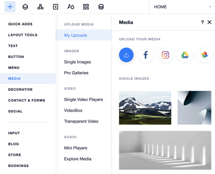 Wix allow to connect social media accounts to import images and its editing functionality